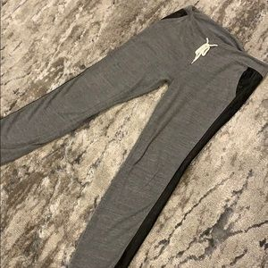 Grey Sweatpants/Joggers with Faux Leather Stripe